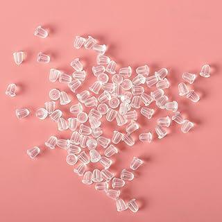 100 piezas de tapones de goma para pendientes pequeños, transparentes, sin alergias, transparentes, con mariposa, para aretes de seguridad, para mujer