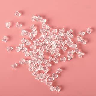 Ciaoed - 100 piezas de tapones de goma para pendientes pequeños, transparentes, sin alergias, transparentes, con mariposa, para aretes de seguridad, para mujer