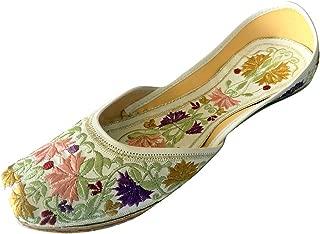 Step n Style Women Flat Jaipuri Sandals White Phulkari Work Khussa Shoes Punjabi Jutti Ballerina