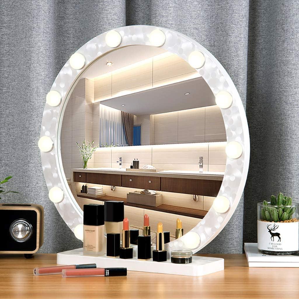 MIEMIE Gesichtsspiegel, Schminkspiegel Hollywood-Stil Led Kosmetikspiegel Lichter Kit mit dimmbaren Glühbirnen Wandleuchte Spiegel rund groß White