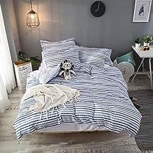 Hibertex Cotton Doona Cover Set,100% Cotton Yarn Dyed Woven Seersucker Stripe Quilt Cover Set - Queen Multi