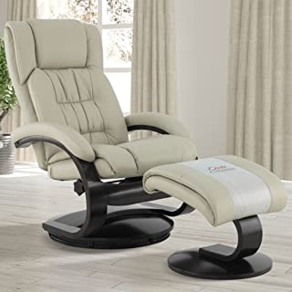 Mac Motion Oslo Collection Narvick Recliner and Ottoman in Beige Breathable Air Leather