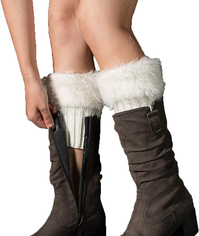Mingnos 2 Pairs Womens Faux Fur Furry Knit Leg Warmers Short Boot Cuffs Socks