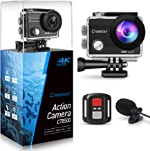 Crosstour 4K 16MP Action Camera External Microphone EIS WiFi Remote Control Underwater Waterproof Sports Cam