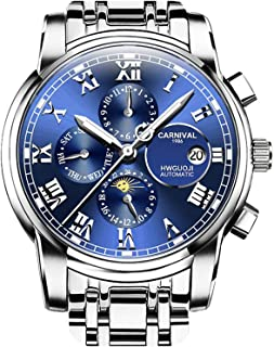 Mens Automatic Machine Gold Stainless Steel Sapphire Waterproof Mens Multifunction Blue Watch