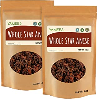 Yamees Star Anise - 8 Oz (4 Oz Each) – Star Anise Pods – Anise Star – Anise Whole – Star Anise for Teas and Baking - Bulk ...