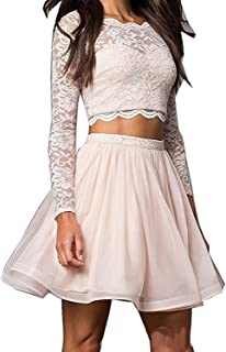 Women's Beaded Lace Two Piece Short Homecoming Dresses Long Sleeve Short Prom Dresses P229