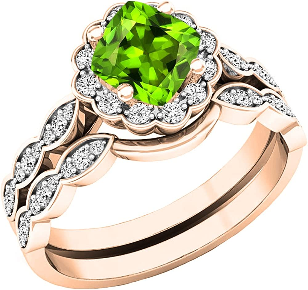 Dazzlingrock Collection 14K 5.5 MM Cushion Gemstone & Round Diamond Ladies Halo Style Engagement Ring Set, Rose Gold