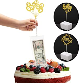 Cake Birthday Money Box Set, Birthday Cake Toppers and Transparent Bags for Birthday Party Cake Size in 8 Inch or Larger Decorations Supplies
