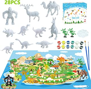 LISM 28 PCS Animal&Dinosaur Painting Kit for Kids 3D Animal Toys Arts Crafts Paint Your Own Dinosaur DIY Set Best Gifts fo...