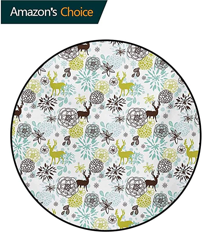 Deer Computer Chair Floor Mat Christmas Winter Themed Illustration With Deer Birds Snowflakes Floral Printed Round Carpet For Children Bedroom Play Tent Diameter 24 Inch Yellow Green Seafoam Brown