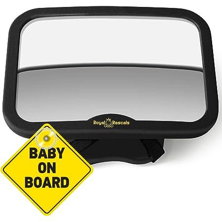 Royal Rascals Baby Auto Spiegel Rückspiegel Für Rückwärts Gerichtete Kindersitze Schwarz Passt In Jede Verstellbare Kopfstütze Dreh Und Kippunktion Splitterfrei Premium Sicherheitsprodukt Baby