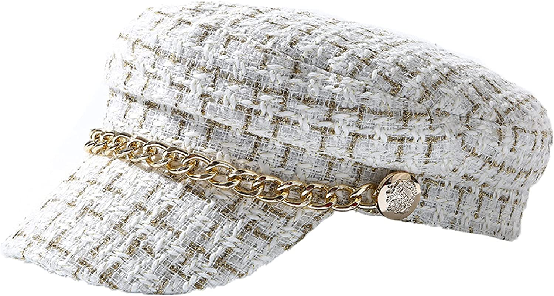 Tweed Chain Military Hat for Women Woolen Flat Army Cap Salior Hats Girl Visor Travel Berets Plaid Newsboy Caps