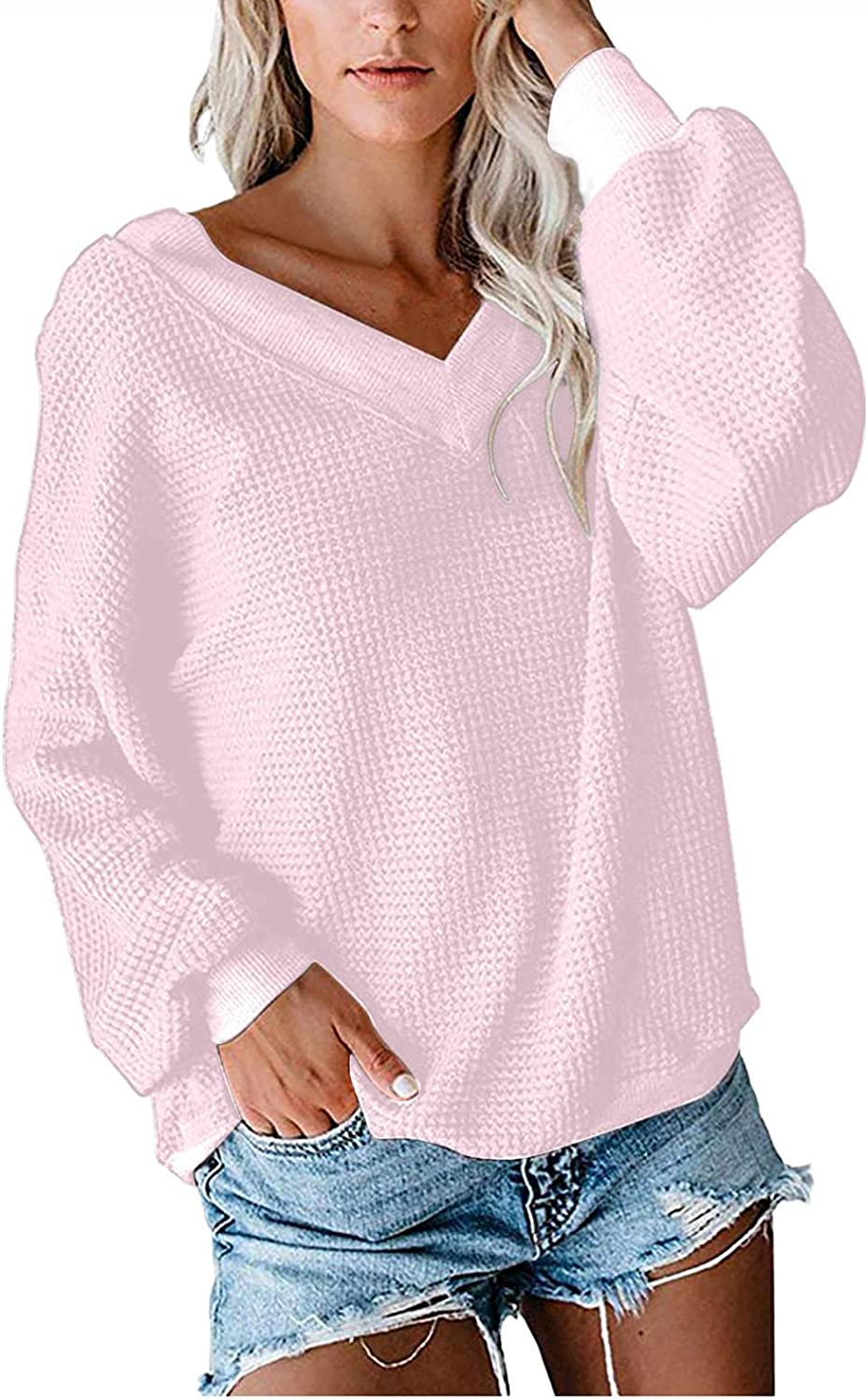 Afelkas One Shoulder Tops for Women Solid Color Slanted Shoulder Sweater Casual Long-Sleeve Blouse Knitted Bottoming Tee