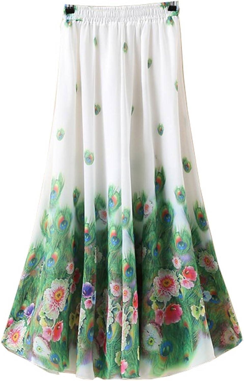 Kaxuyiiy Women's Boho Flower Chinese Painting Beach Maxi Elastic Waist Long Skirt
