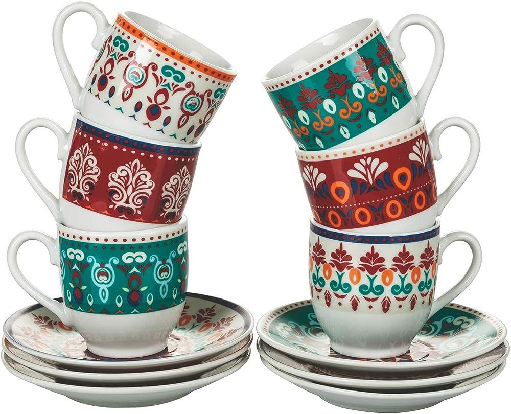 Villa d'este home tivoli shiraz , set di 6 tazzine da caffè con piattino , in porcellana 5907160