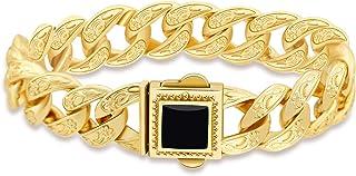 Ramadan gifts Valentine's Day present Vintage Men Bracelet Stainless Steel Men Link Bracelet Silver Gold Rose Flower Brace...