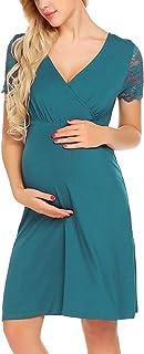 Ekouaer Womens Nursing Nightgowns Short Sleeve Nightshirt Lace Maternity Sleepwear Breastfeeding Nightdress, S-XXL