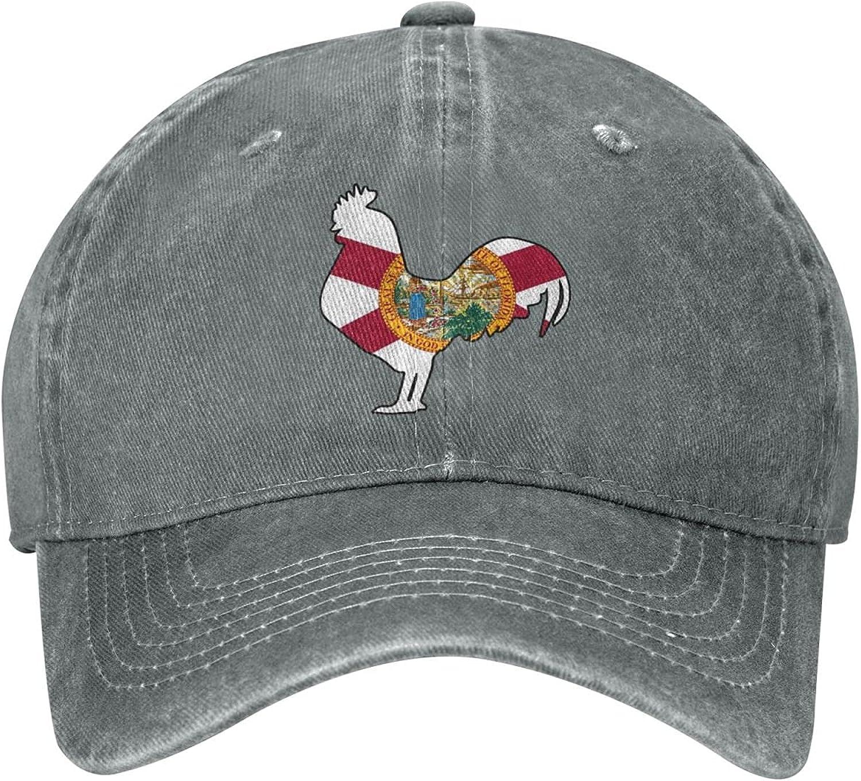 KOUSHANAIER Florida Flag Rooster Unisex Cowboy Hat Baseball Caps Adjustable Outdoor Sports Golf Denim Cap Black