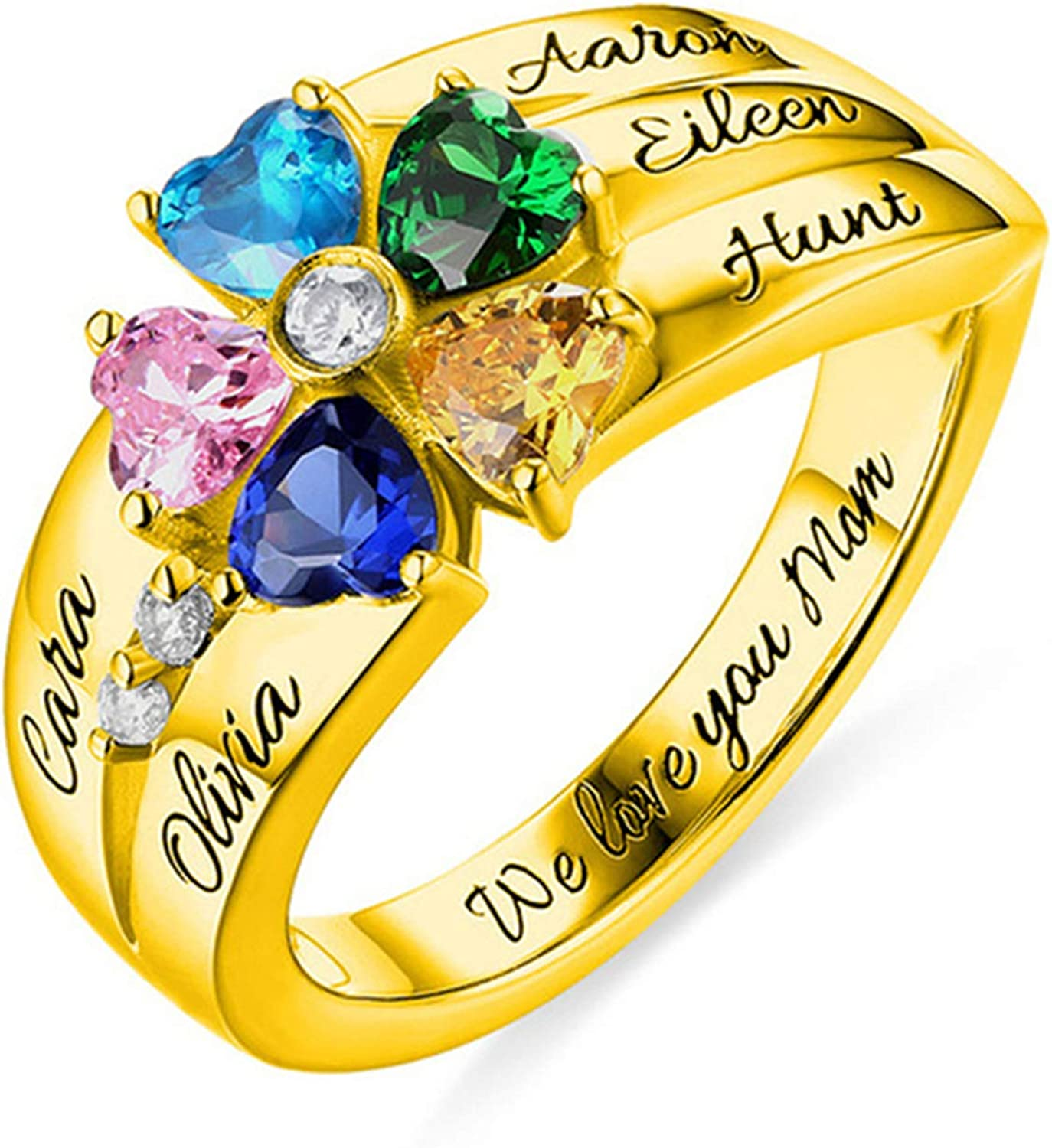 Personalized Ring Engraved 5 Finally popular brand Birthstone Customized Name San Antonio Mall N