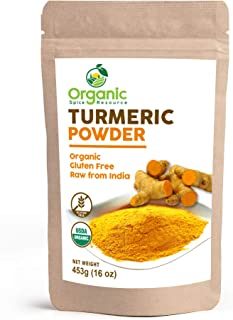 Organic Turmeric Root Powder | 8oz or 1 lbs or 2 lbs) | Lab Tested for Heavy Metal and Purity, Resealable Kraft Bag, Non-G...