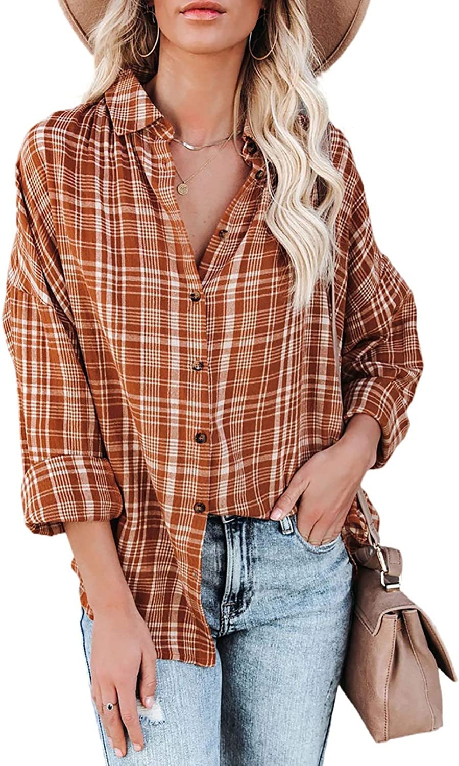 Happy Sailed Womens Casual Striped Button Down V Neck Shirt Stand Collar Long Sleeve Blouse Shirt S-2XL