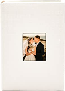 Golden State Art, Wedding Family Baby Holiday Photo Album Christmas, Vacation, Anniversary Photography Book for 300 4x6 Pictures Pockets with Memo, 3 Per Page Large Capacity White Embossed Cover