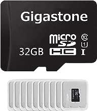 Gigastone Micro SD Card 32GB 10-Pack Micro SDHC U1 C10 with Mini Case High Speed Memory Card Class10 Uhs Full HD Video Nintendo Gopro Camera Samsung Canon Nikon DJI Drone- Black