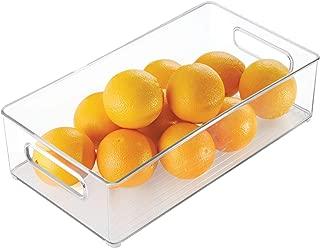 iDesign Plastic Portable Deep Storage Bin with Handles for Organizing Refrigerator, Freezer, Pantry, BPA-Free, Clear