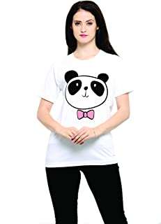 THE SV STYLE Unisex White T-Shirt with Print: Cute Panda/Printed White T-Shirt/Graphic Printed T-Shirt/T-Shirt for Men & Women/Funny Quote T-Shirt/Unisex T-Shirt