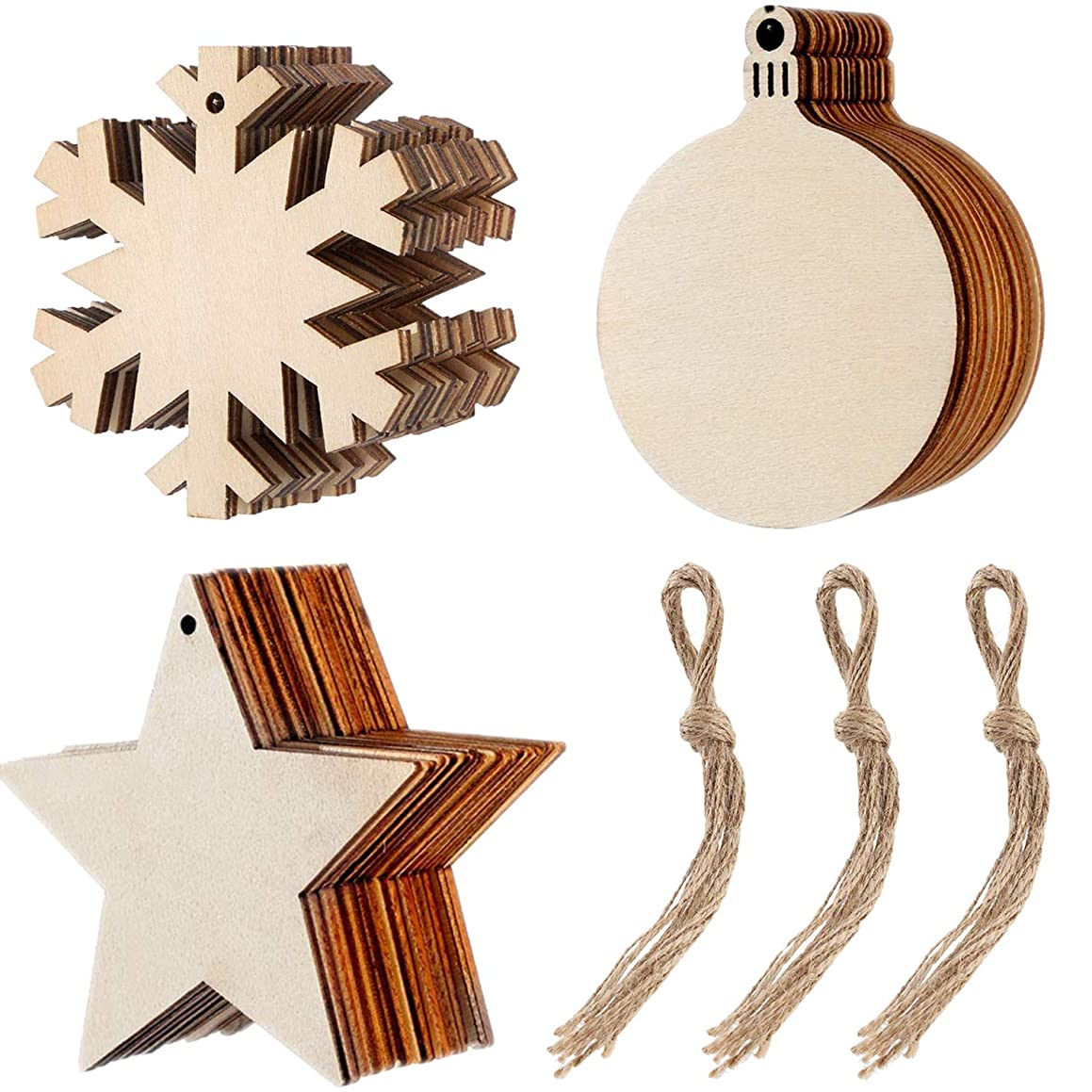 eborder 30 Pieces Christmas Unfinished Wooden Ornaments Round Wood Discss Snowflake Star Hanging Embellishments with 30 Pieces Cords for Christmas Decorations and Crafts