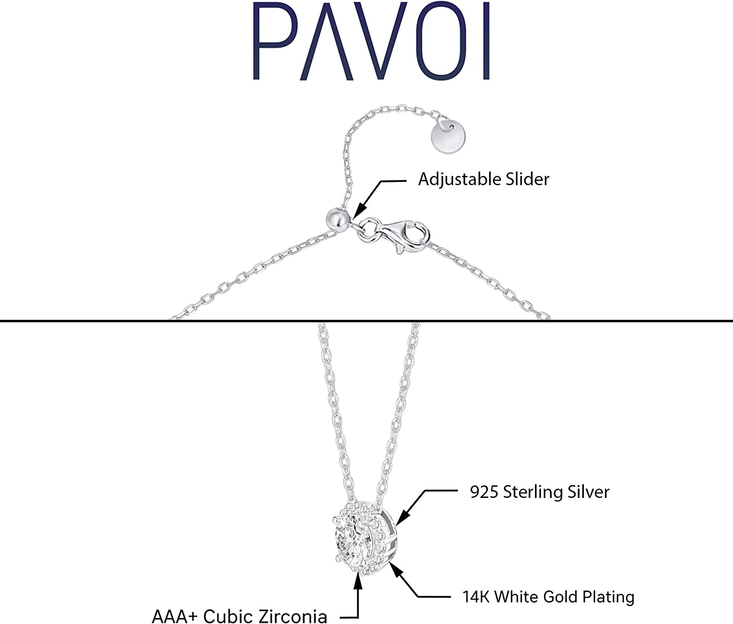 PAVOI 14K Gold Plated Post Faux Diamond Round Solitaire Pendant Halo Necklace | Gold Necklace for Women | Slider Adjustable