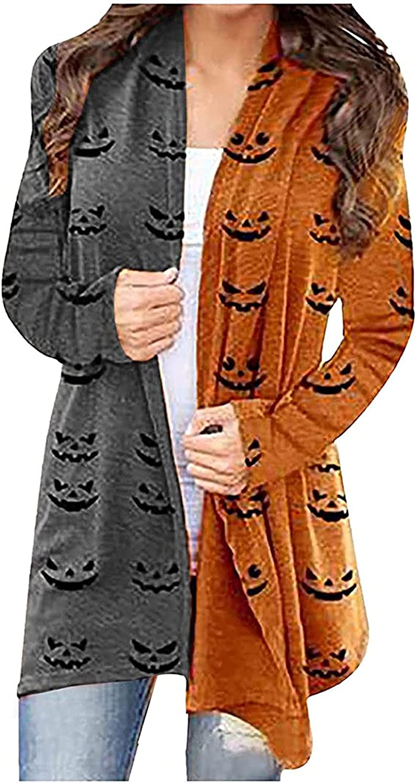 Fashion Women Halloween Animal Cat Pumpkin Print Cardigan Autumn Coat Blouse