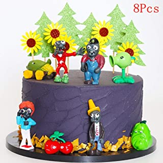 8PCS Plants VS Zombies Cake Toppers Picks for Kids Birthday Party, Baby Shower Cake Decorations