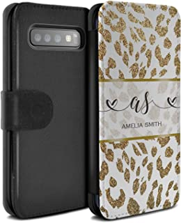 Personalized Custom Fashion Animal Print Pattern PU Leather Case for Samsung Galaxy S10 Plus/Gold Glitter Leopard Design/Initial/Name/Text DIY Wallet/Cover