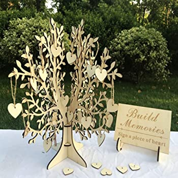 """Unique Wedding Guest Book Alternative, Rustic Guest Registry with 50pcs Wooden Hearts, Wood Tree Frame Drop Box Guest Books with Stand (15.4"""" x 15"""" x 15"""")"""