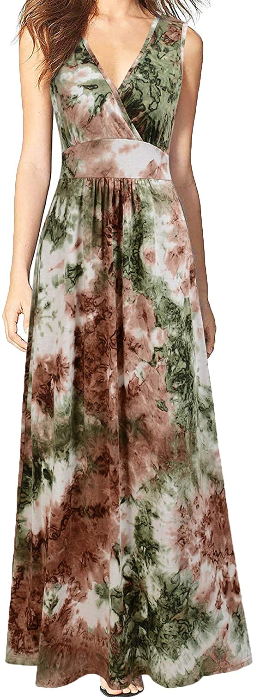 Max 80% OFF WOOSEA Women Denver Mall Sleeveless Deep V Neck Long Maxi Loose Casual Plain