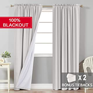 Flamingo P Full Blackout Waterproof Primitive Curtains, Decorative Thermal Insulated Window Treatment Drapes with Rod Pocket, 2 Tie-Backs (1 Pair, Each Panel W52 x L84 inches, Natural)