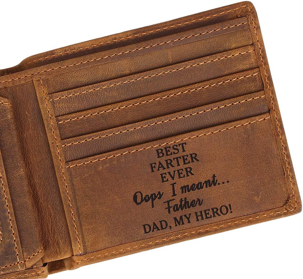 Dad's Wallets - Customize Engraved Leather Men Wallet - Personalized Unique Gift For Dad As Anniversary, Birthday, Christmas Day and Father's Day Gift