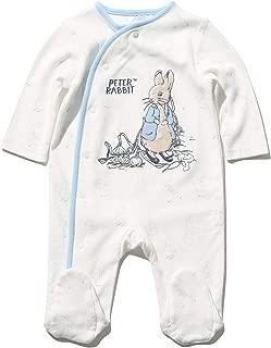 M/&Co Baby Newborn Cotton Stretch Velour Dinosaur Embroidered Sleepsuit