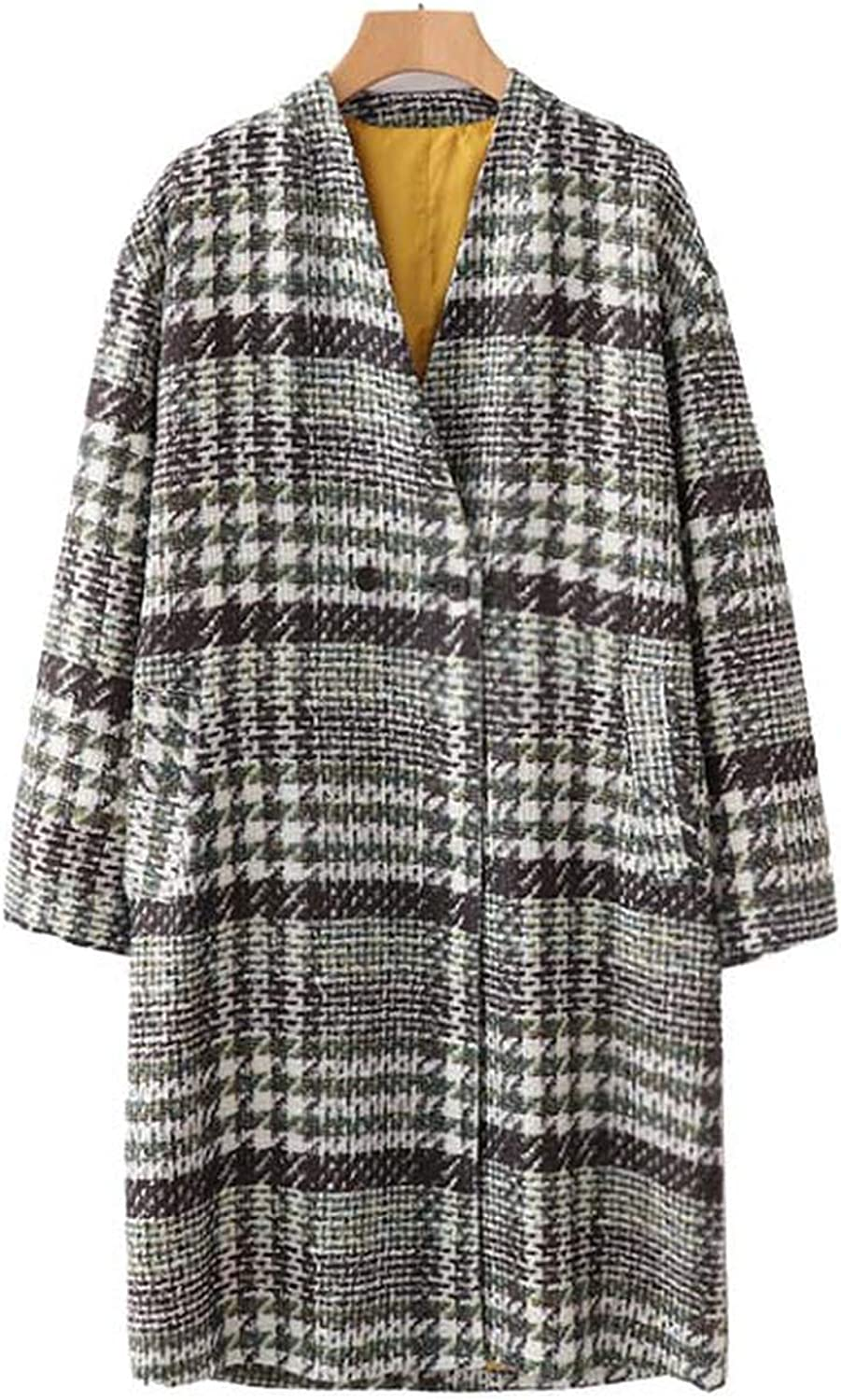 Souieyshop Plaid Tweed Long Woolen V Neck Warm Houndstooth Patchwork Long Sleeve Straight Warm Loose Tops