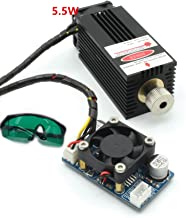 Focusing Blue Laser Module 5500mw 450nm 5.5W High Power Laser Head laser tube wiht Safety Goggle engraving and cutting TTL module DC 12V for cnc router milling laser machine