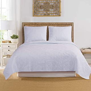 """ARTO MOSTO 100% Cotton Quilted and Prewashed 3PC Oversized Luxury Quilt Set/Coverlet Set/Bedspread Set.Full/Queen:92""""x96""""/20x26""""(2), King: 110""""x96""""/20x36""""(2) (Pattern #3-White, Full/Queen)"""