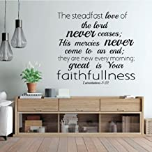 Christian Wall Decal - The Steadfast Love Of The Lord - Bible Verse - Lamentation 3:22 - Vinyl Scripture And Religious Home Decor Or Church Decoration