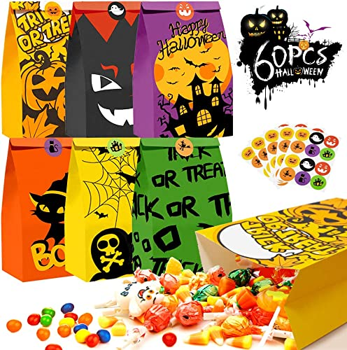"""new arrival Kidtion 60 PCS Halloween Goody Bags with 60 Pcs outlet sale Stickers, 6 Styles Treat Bags Bulk, 9.5""""x5.2""""x3.2"""" Larger Trick online sale Or Treat Bag Candy Bags Gift Bags Durable and Reusable Halloween Party Favor Bags online"""
