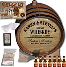 Personalized Whiskey Making Kit (063) - Create Your Own Southern Whiskey - The Outlaw Kit from Skeeter's Reserve Outlaw Gear - MADE BY American Oak Barrel - (Oak, Black Hoops, 5 Liter)