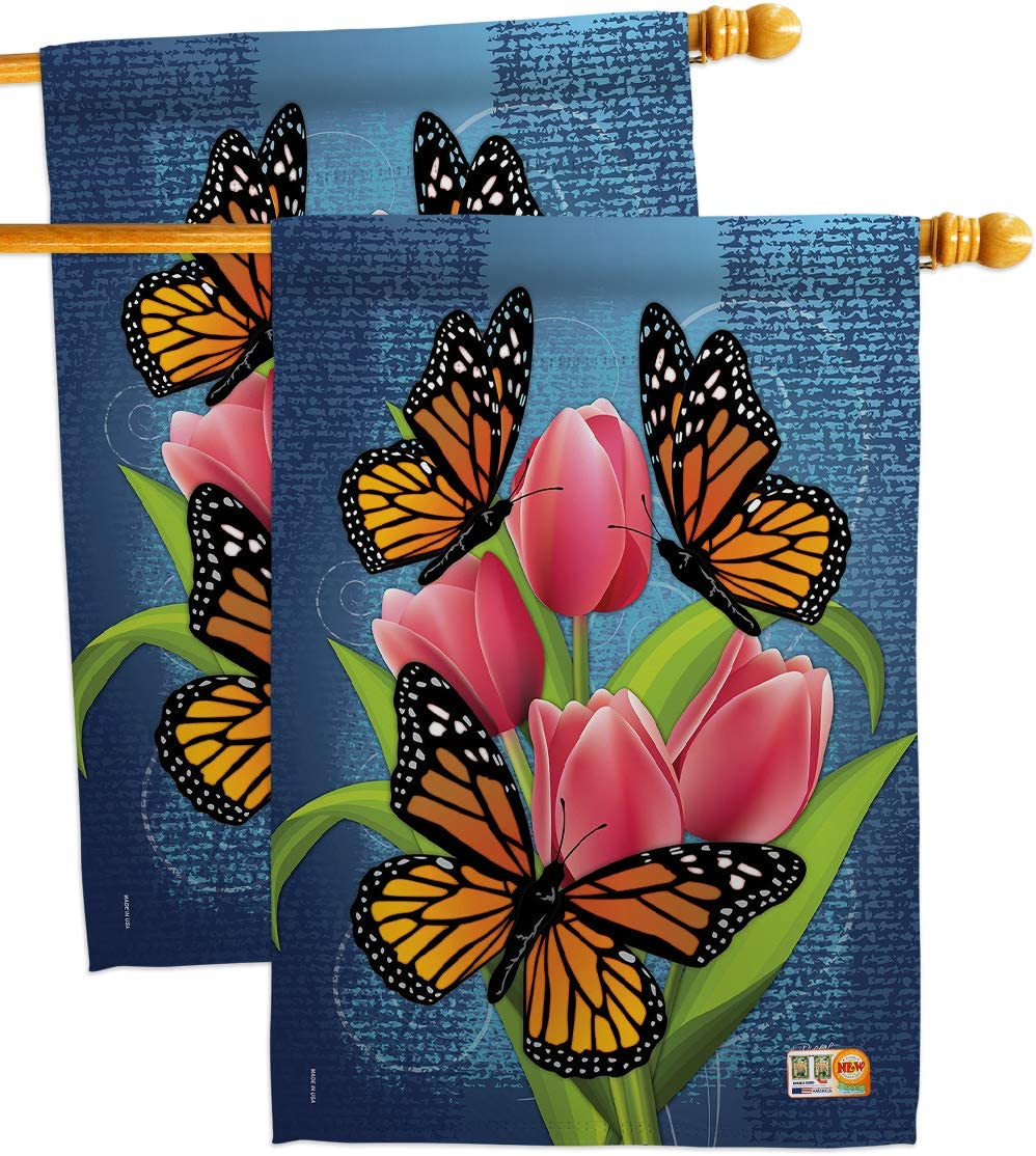 Bugs specialty shop Frogs Monarch Butterflies Directly managed store House Flags F Garden pcs Pack 2