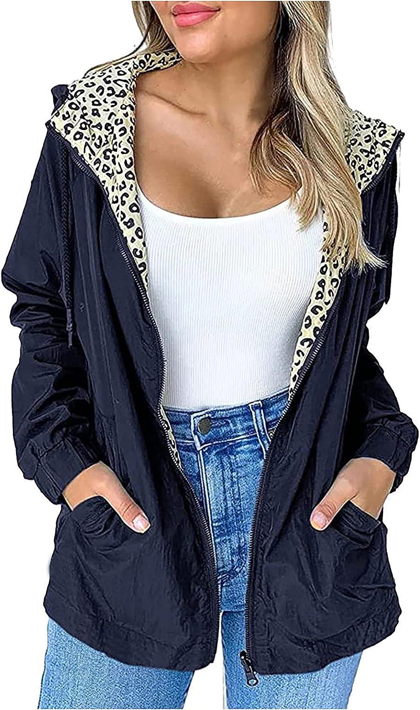Womens Casual Jackets Military Jacket Zip Up Lightweight Utility Anorak Coat Waterproof Hooded Windproof Coat
