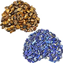 SUNYIK Tiger's Eye/Lapis Lazuli Chips Stone Crushed Healing Crystal Quartz Rocks Reiki Decoration Irregular Shaped, 0.1