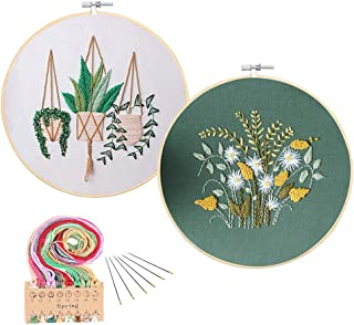 Full Range of Embroidery Starter Kit with Pattern 2 Pack Cross Stitch Kit Including Embroidery Cloth with Pattern, Bamboo Embroidery Hoop, Color Threads and Tools Kit(Plant and Floral Hoop)